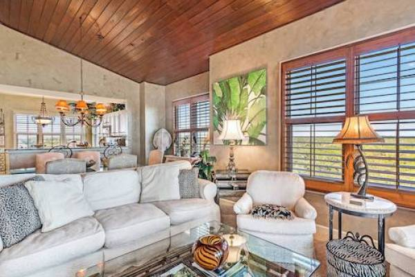 Living room at vacation rental home at Martinique on the Gulf Resort